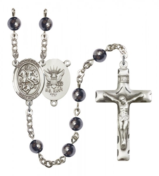 Men's St. George Navy Silver Plated Rosary - Gray
