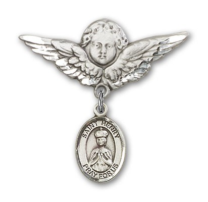 Pin Badge with St. Henry II Charm and Angel with Larger Wings Badge Pin - Silver tone