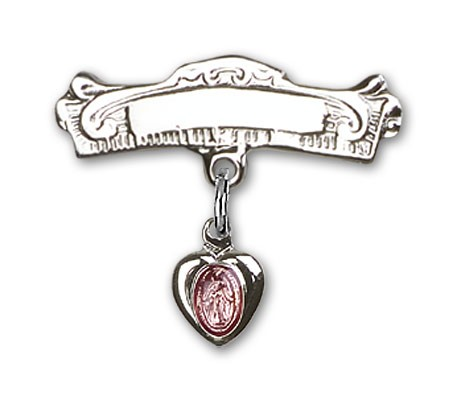 Engravable Sterling Silver Baby Pin with Pink Enamel Miraculous Charm - Sterling Silver | Pink Enamel