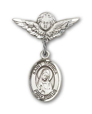 Pin Badge with St. Monica Charm and Angel with Smaller Wings Badge Pin - Silver tone