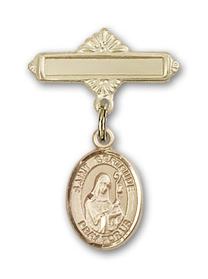 Pin Badge with St. Gertrude of Nivelles Charm and Polished Engravable Badge Pin - Gold Tone