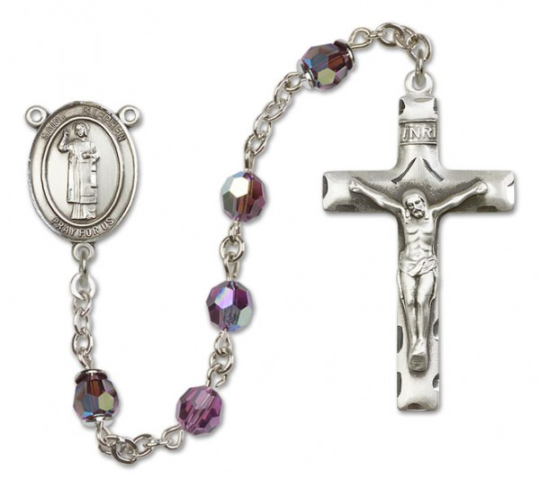 St. Stephen the Martyr Sterling Silver Heirloom Rosary Squared Crucifix - Amethyst