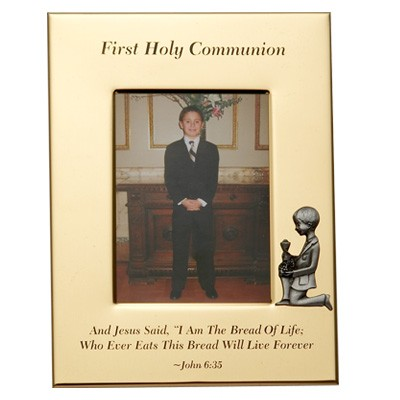 First Communion Photo Frame - Boy - Gold Tone