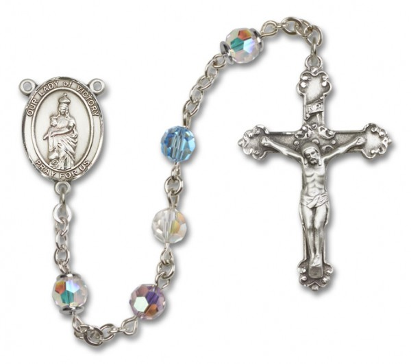 Our Lady of Victory Sterling Silver Heirloom Rosary Fancy Crucifix - Multi-Color