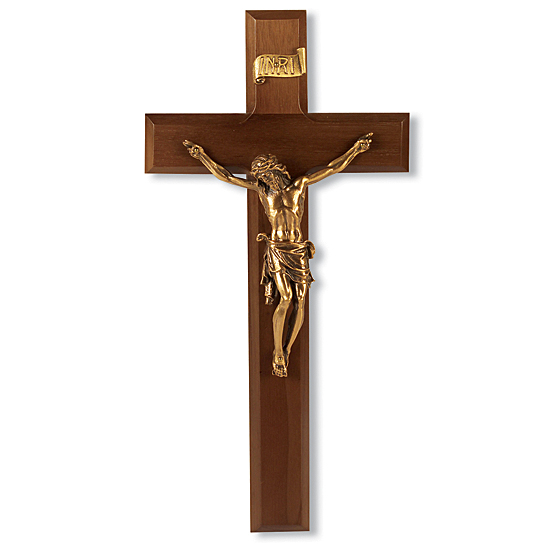Wide Edge Gold-tone Walnut Wall Crucifix - 11 inch - Brown