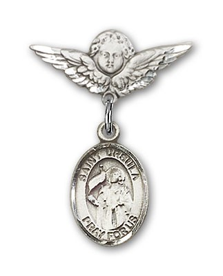 Pin Badge with St. Ursula Charm and Angel with Smaller Wings Badge Pin - Silver tone