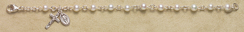 Rosary Bracelet - Sterling Silver with Genuine Cultured Pearl Beads - White