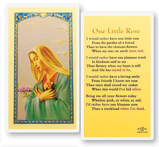 One Little Rose Laminated Prayer Cards 25 Pack - Full Color