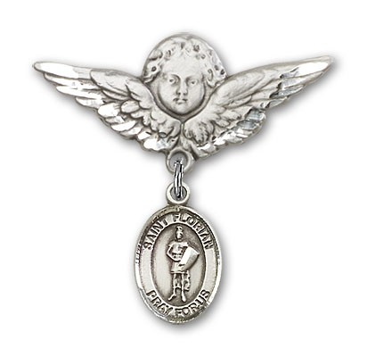 Pin Badge with St. Florian Charm and Angel with Larger Wings Badge Pin - Silver tone