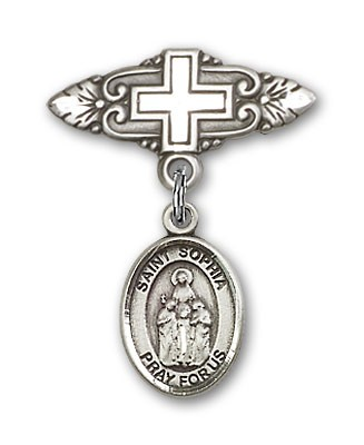 Pin Badge with St. Sophia Charm and Badge Pin with Cross - Silver tone