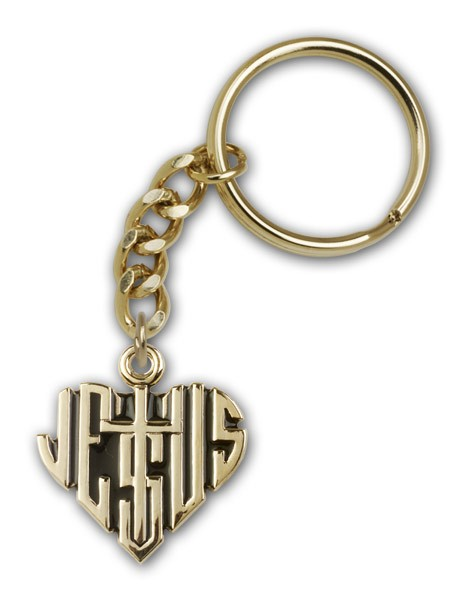 Heart of Jesus with Cross Keychain - Gold Tone