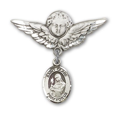 Pin Badge with St. Clare of Assisi Charm and Angel with Larger Wings Badge Pin - Silver tone