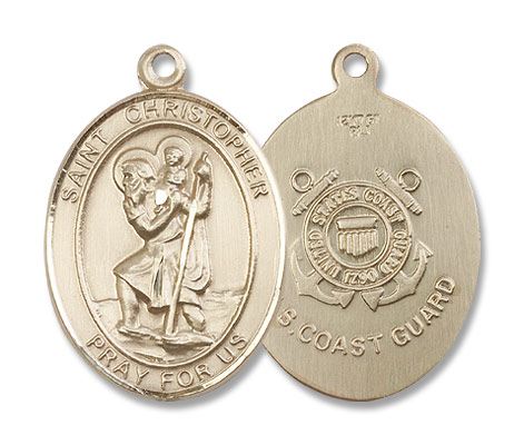 St. Christopher Coast Guard Medal - 14K Yellow Gold