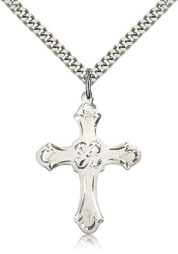 Women's Budded Edge Floral Center Cross Pendant - Sterling Silver