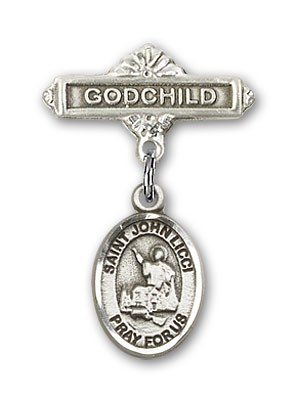 Pin Badge with St. John Licci Charm and Godchild Badge Pin - Silver tone