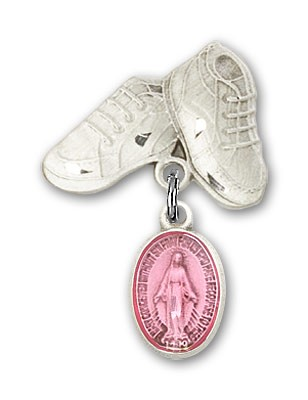 Baby Pin with Miraculous Charm and Baby Boots Pin - Silver | Pink