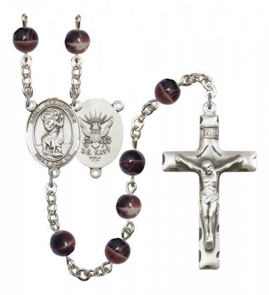 Men's St. Christopher Navy Silver Plated Rosary - Brown