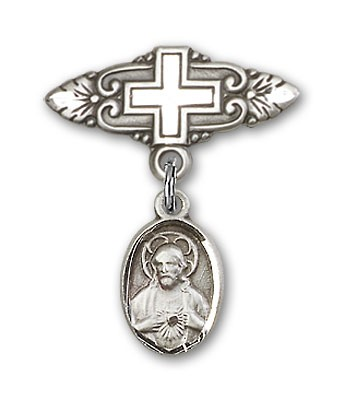 Baby Pin with Scapular Charm and Badge Pin with Cross - Silver tone