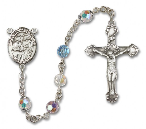 Saints Cosmas and Damian Rosary Heirloom Squared Crucifix - Multi-Color