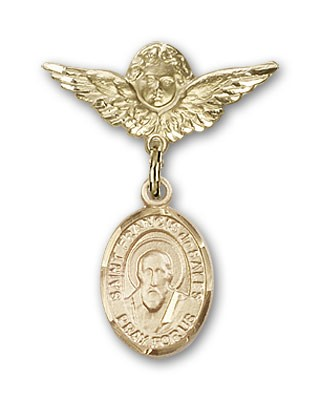 Pin Badge with St. Francis de Sales Charm and Angel with Smaller Wings Badge Pin - 14K Solid Gold