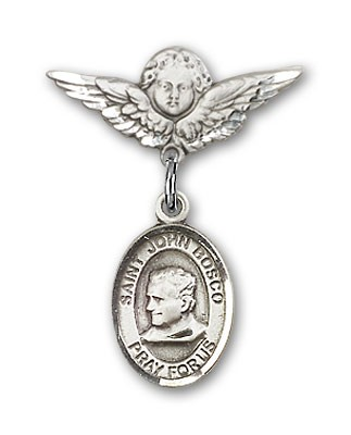 Pin Badge with St. John Bosco Charm and Angel with Smaller Wings Badge Pin - Silver tone