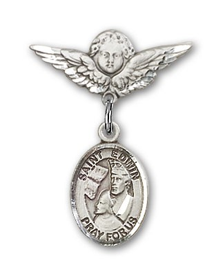 Pin Badge with St. Edwin Charm and Angel with Smaller Wings Badge Pin - Silver tone