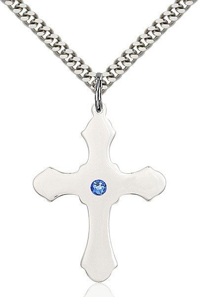 Large High Polished Soft Edge Cross Pendant with Birthstone Options - Sapphire