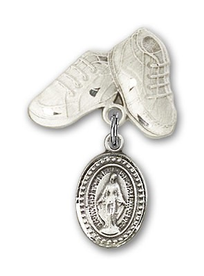 Baby Pin with Miraculous Charm and Baby Boots Pin - Silver tone