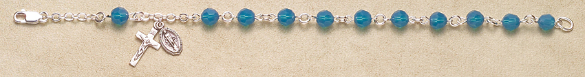 Rosary Bracelet - Sterling Silver with Caribbean Blue Swarovski Beads - Blue