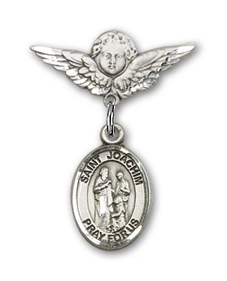 Pin Badge with St. Joachim Charm and Angel with Smaller Wings Badge Pin - Silver tone