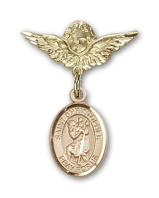 Pin Badge with St. Christopher Charm and Angel with Smaller Wings Badge Pin - 14K Yellow Gold