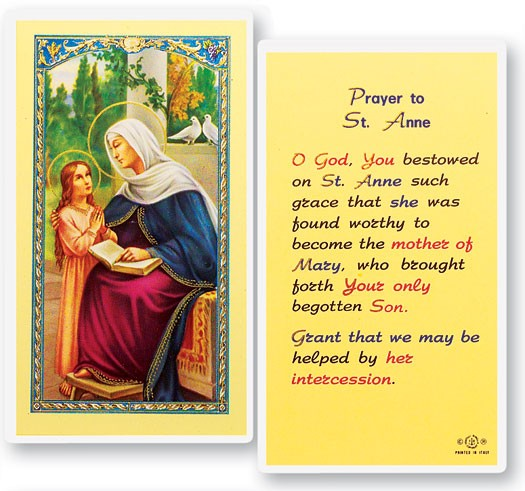 St. Anne Laminated Prayer Cards 25 Pack - Full Color