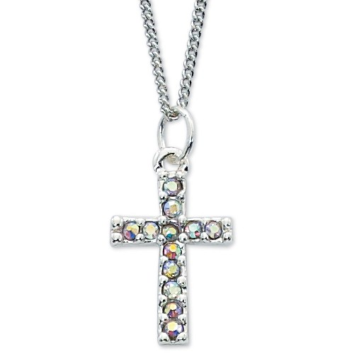 "Crystal Cross Necklace - 16""L - Crystal"