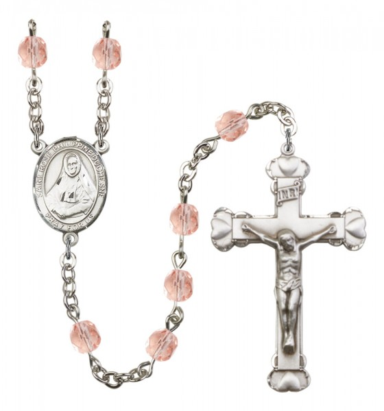 Women's St. Rose Philippine Duchesne Birthstone Rosary - Pink