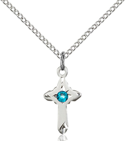Child's Pointed Edge Cross Pendant with Birthstone Options - Zircon