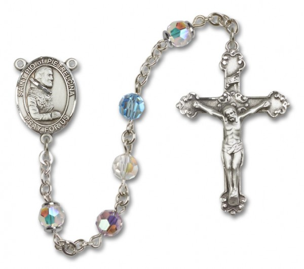 St. Pio of Pietrelcina Sterling Silver Heirloom Rosary Fancy Crucifix - Multi-Color
