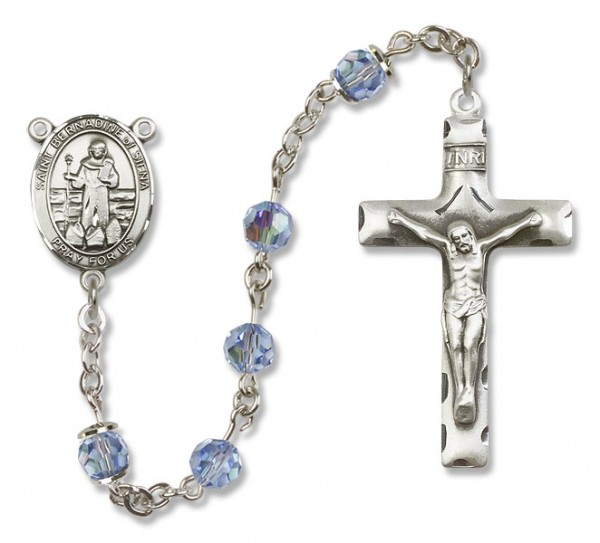 St. Bernadine Sterling Silver Heirloom Rosary Squared Crucifix - Light Sapphire