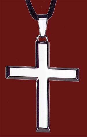 "Stainless Steel Cross Pendant - 1 1/4""H - Silver"