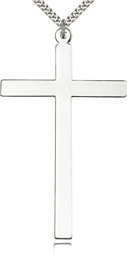 X-Large Latin Cross Pendant - 3 inch - Sterling Silver
