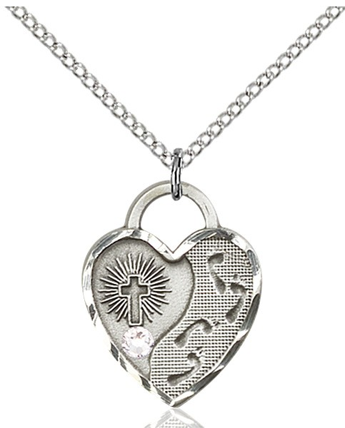 Heart Shaped Footprints Pendant with Birthstone Options - Crystal