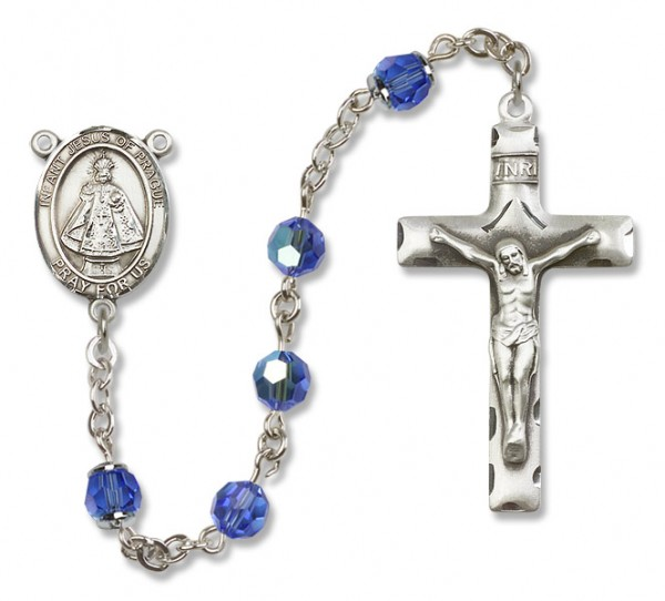 Infant of Prague Rosary Heirloom Squared Crucifix - Sapphire