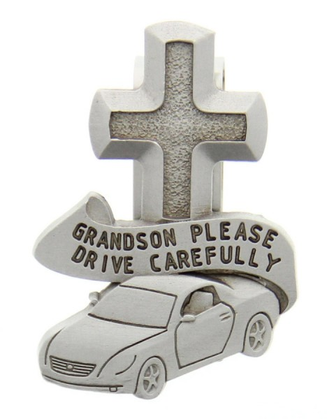"Grandson Please Drive Carefully Visor Clip, Pewter - 2 1/2""H - Silver"