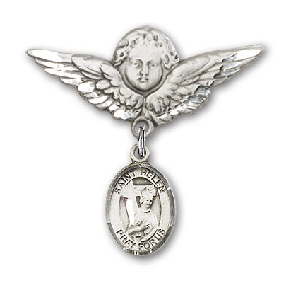 Pin Badge with St. Helen Charm and Angel with Larger Wings Badge Pin - Silver tone