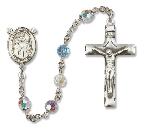 Maria Stein Sterling Silver Heirloom Rosary Squared Crucifix - Multi-Color