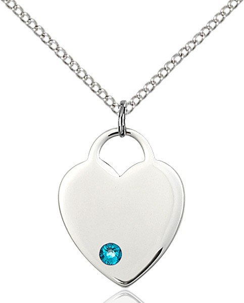 Medium Heart Shaped Pendant with Birthstone Options - Zircon