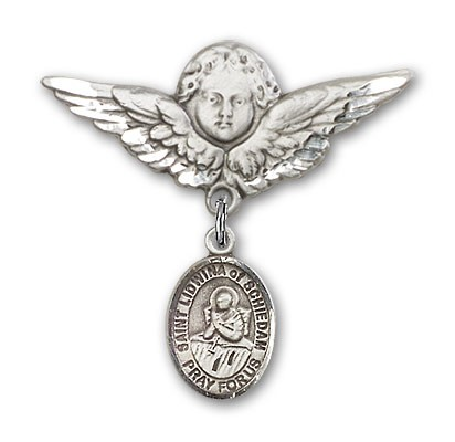 Pin Badge with St. Lidwina of Schiedam Charm and Angel with Larger Wings Badge Pin - Silver tone