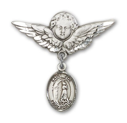 Pin Badge with St. Zoe of Rome Charm and Angel with Larger Wings Badge Pin - Silver tone