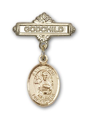 Pin Badge with St. John the Apostle Charm and Godchild Badge Pin - 14K Yellow Gold