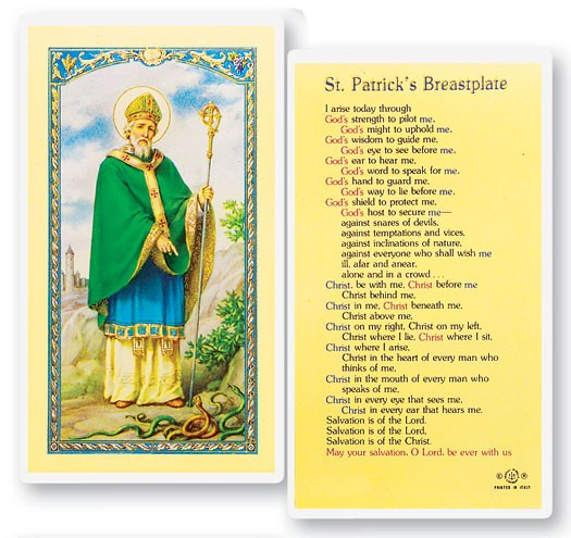 St. Patrick Breastplate Laminated Prayer Cards 25 Pack - Full Color