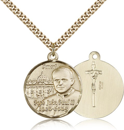 Men's Pope John Paul II with Vatican Medal - 14KT Gold Filled